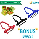 Latest Design Magic Trio Peelers (Set of 3) with 5 BONUS Reusable Life Extending Produce Bags   Stainless Steel Multi-Functional Blades   Julienne - Shred - Slice Fruits and Vegetables