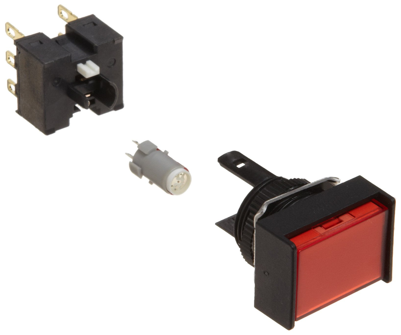 Omron A165L-JRM-24D-2 Two Way Guard Type Pushbutton and Switch, Solder Terminal, IP65 Oil-Resistant, 16mm Mounting Aperture, LED Lighted, Momentary Operation, Rectangular, Red, 24 VDC Rated Voltage, Double Pole Double Throw Contacts
