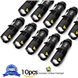 10 Pack Small EDC LED Flashlight 7W 350 Lumen Tactical Zoomable Pocket Torch Portable Flashlights Bulk Best Handheld Light for Home, Car, Office,  Outdoor Activities