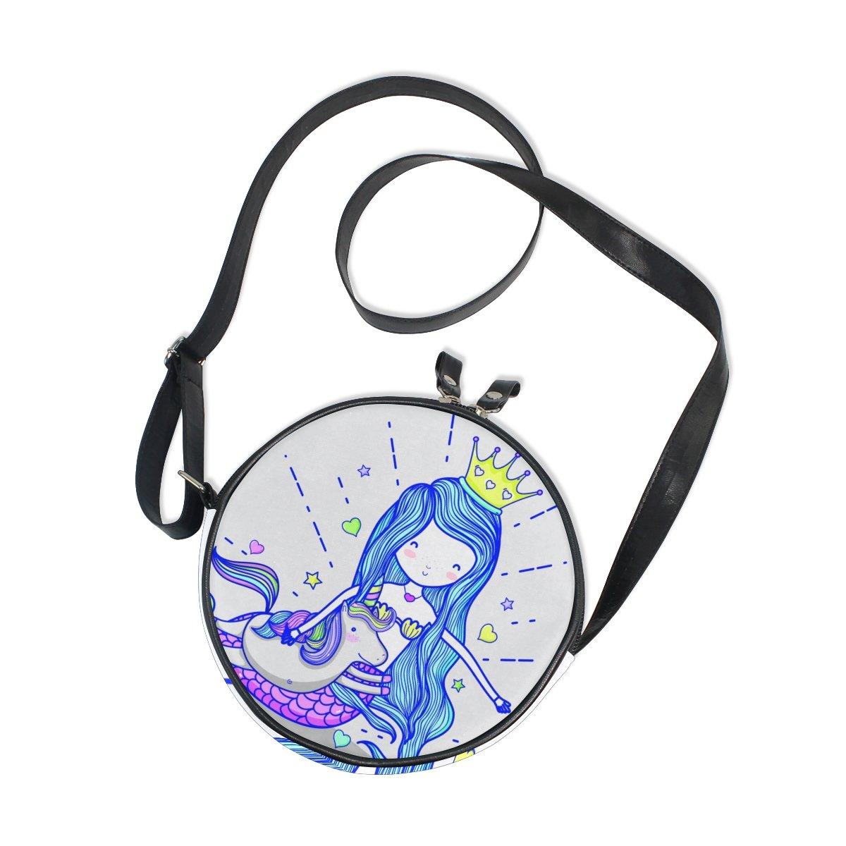 XinMing Mermaid Unicorn Girl Round Crossbody Shoulder Bags Adjustable Top Handle Bags Satchel for Women