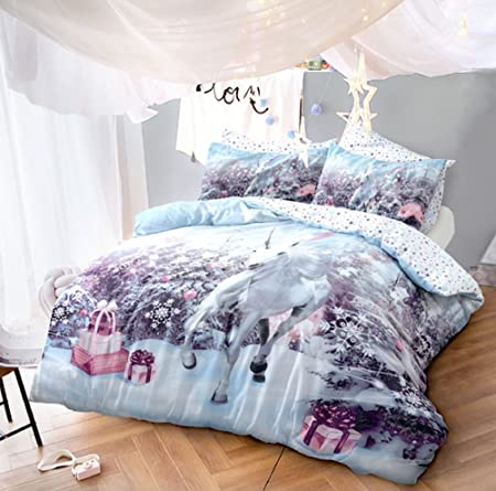 Luxury Christmas Unicorn Design Reversible Duvet Cover With
