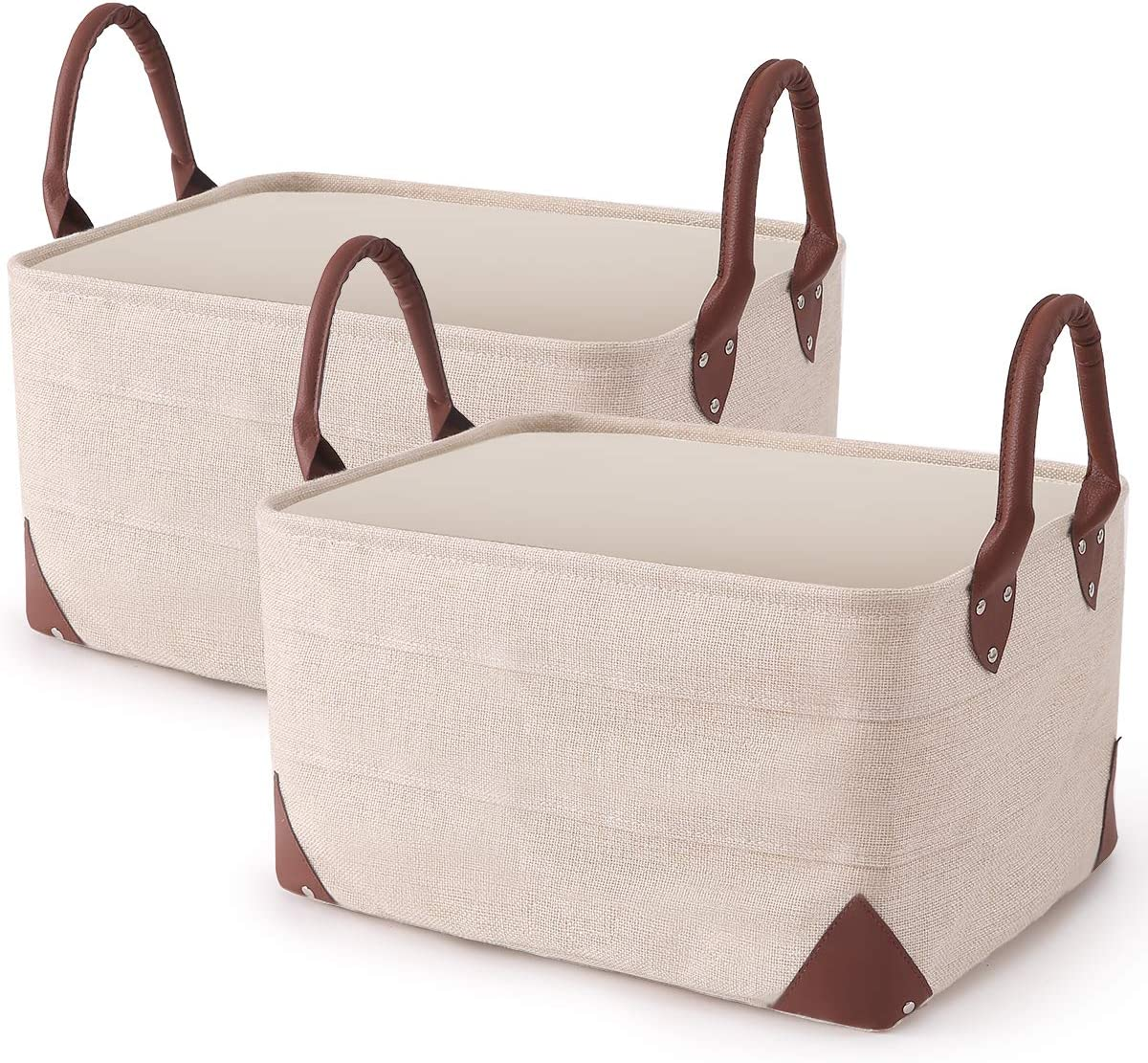 2 Pack Collapsible Storage Bin - Natural Linen Fabric Storage Basket with PU Leather Handles for Home Office Organizing Linen Closet Organizer -16 x 12 x 8.3 inches (Beige)