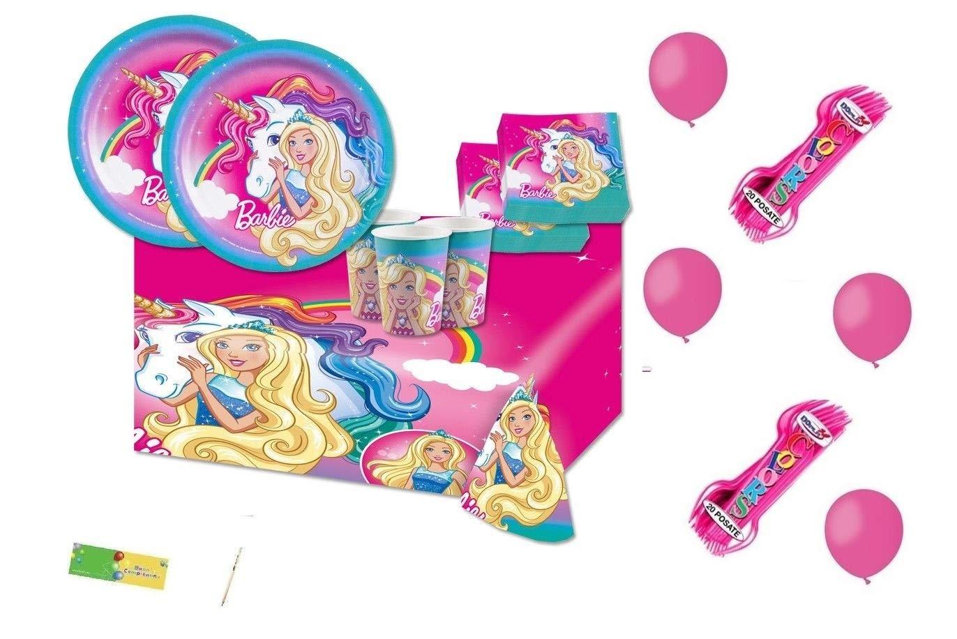 amscan IRPot - Kit N.6 Compleanno Barbie DREAMTOPIA FORCHETTE E Palloncini Fucsia