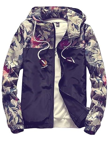 777a0f3beb sandbank Men s Casual Floral Print Lightweight Hooded Jacket Windbreaker  Hoodie