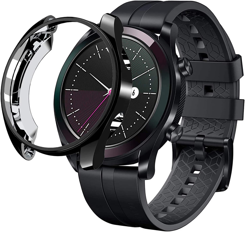 sciuU Funda para Huawei GT Elegant 42 mm, Carcasa Protectora para Huawei GT Active Smart Watch, Flexible Suave TPU Protectora Resistente a los Golpes Shell Protector - Negro