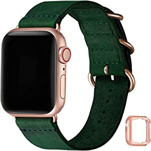 Vintage Leather Bands Compatible with Apple Watch Band 38mm 40mm 42mm 44mm,Genuine Leather Retro Strap Compatible for Men Women iWatch SE Series 6/5/4/3/2/1(Olive Green+Rose Gold Connetor, 42mm 44mm)