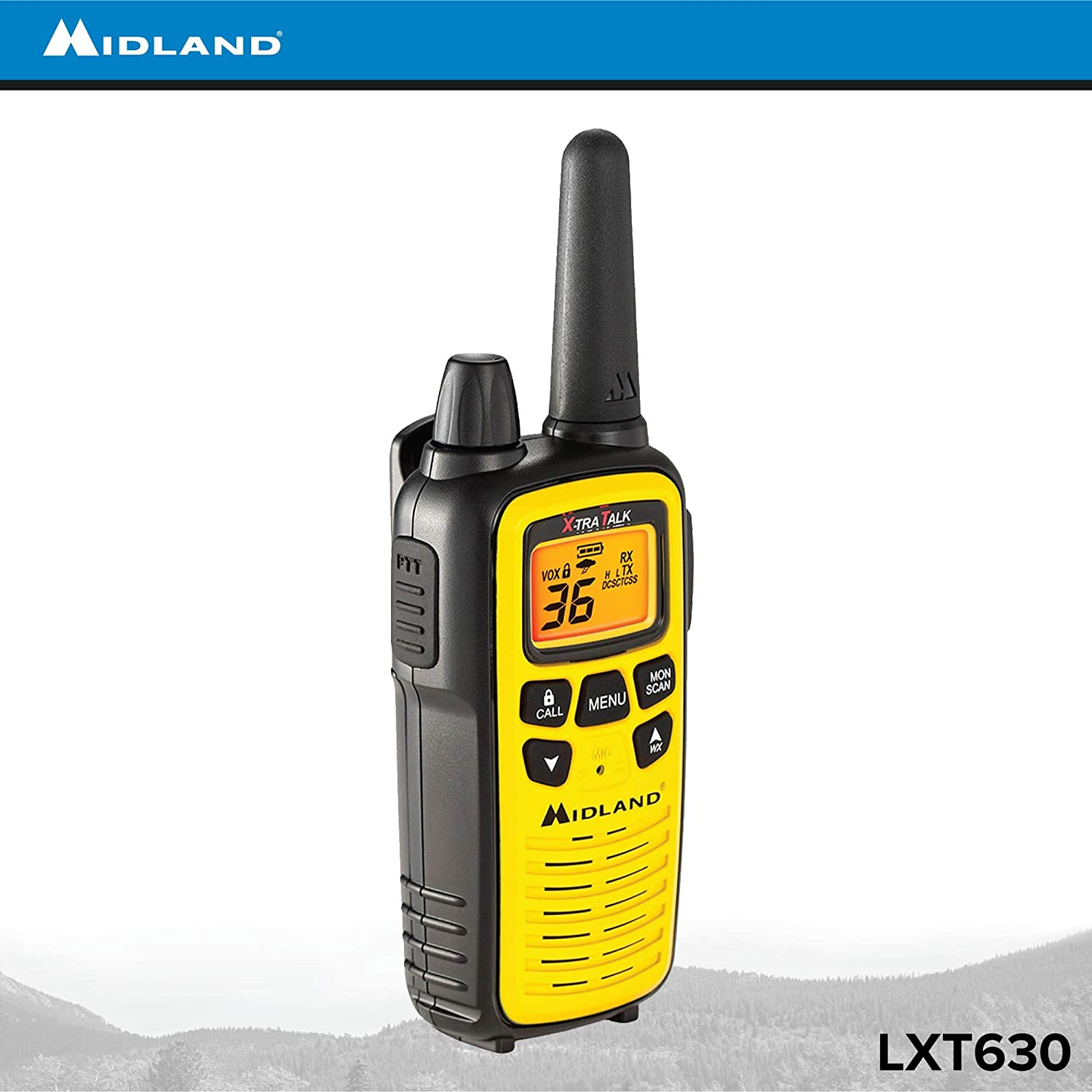 Midland Yellow//Black 121 Privacy Codes Up to 30 Mile Range Walkie Talkie LXT630VP3 Alert 36 Channel FRS Two-Way Radio 3 Pack /& NOAA Weather Scan