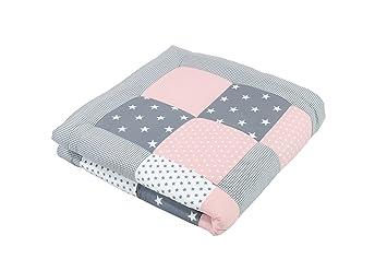 Alfombra para gatear de ULLENBOOM ® con rosa gris (manta para bebé de 100 x