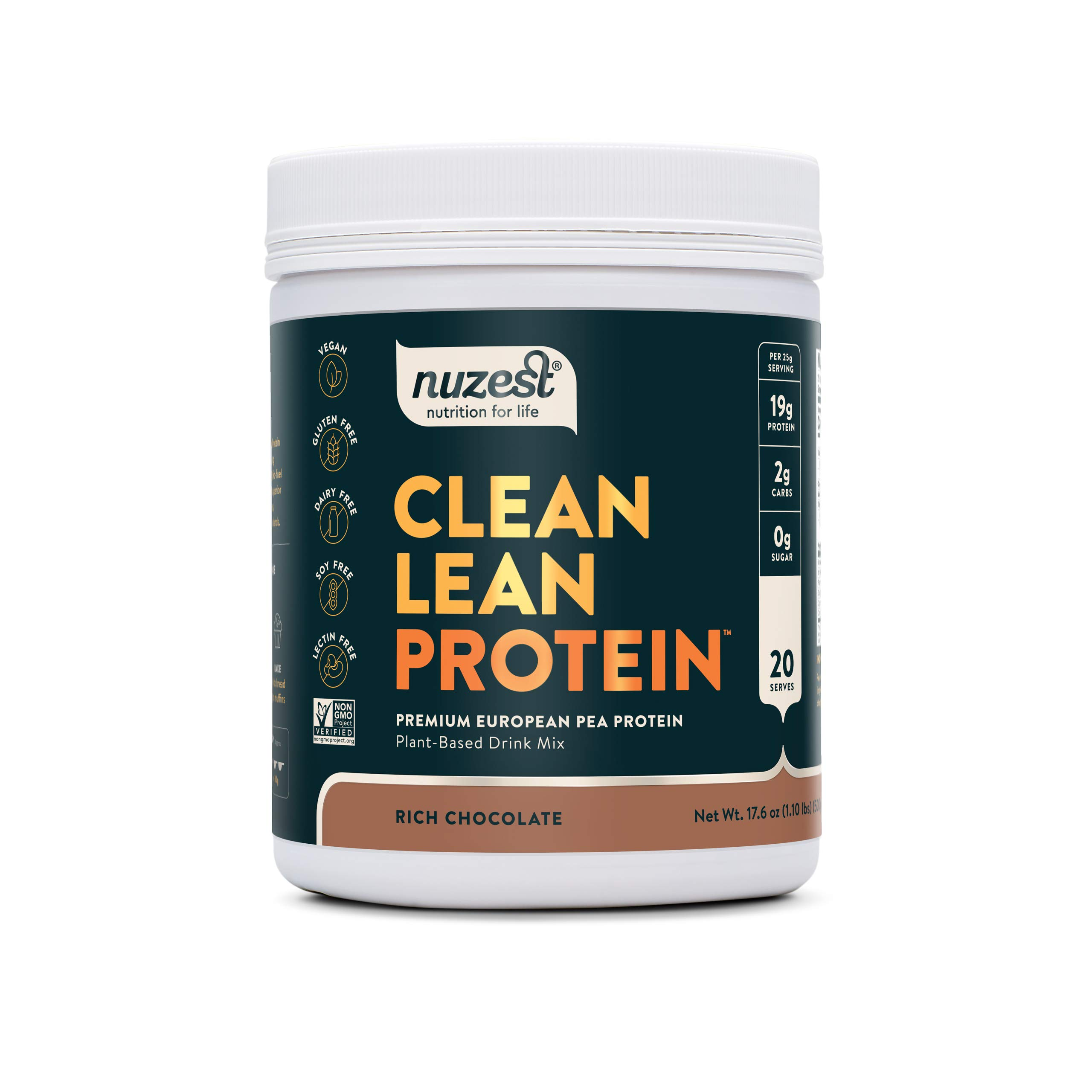 Nuzest Clean Lean Protein - Premium Vegan Protein Powder, Plant Based Protein Powder, Chocolate Protein Powder, Dairy Free, Gluten Free, GMO Free, Naturally Sweetened, Chocolate Protein Powder, 20 Servings, 1.1 lb