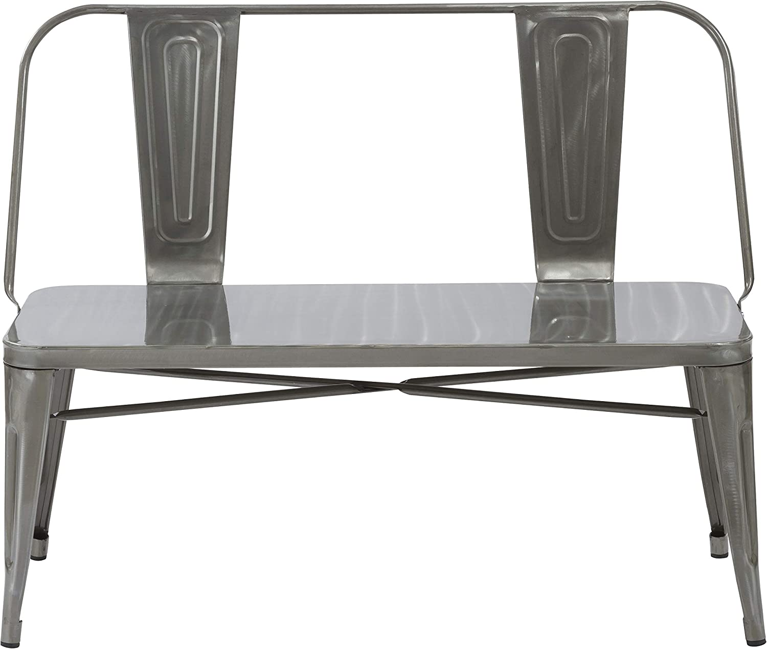 BTEXPERT Industrial Dining Chair Bench Full Back Seat, Distressed Metal, 5061DM