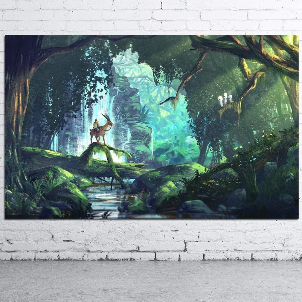 YCOLLC Hayao Miyazaki Prinzessin Mononoke Anime Film Kunst Leinwand Poster Und Drucke Wohnkultur Wandbilder Für Wohnzimmer Schlafzimmer