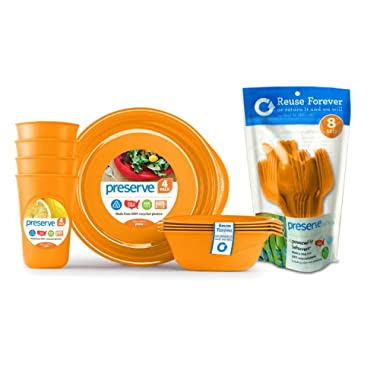 Preserve Everyday Tableware Set with Cutlery, Orange