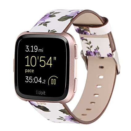 Amedve for Fitbit Versa Band for Women Girls, Soft PU Leather Elegant Floral Printed Pattern Replacement Band Strap Wristband Bracelet for Fitbit ...