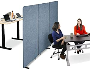 Stand Steady ZipPanels Office Partition | Room Dividers | Three Zip Together Panels Provide Privacy and Reduce Ambient Noise in Workspace, Classroom and Healthcare Facilities (Sky Blue / 3 Panels)
