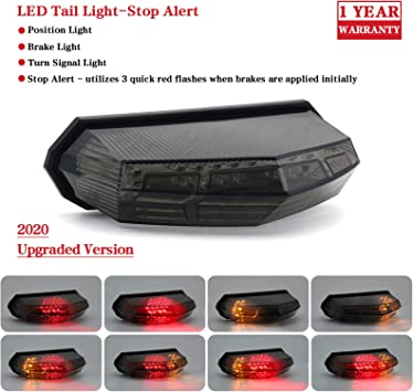 MFC PRO Universal Clear Integrated Motorcycle 25 LED Tail Light with Turn Signal Function for Dirt Bike Buggy Chooper Cruiser ATV Clear