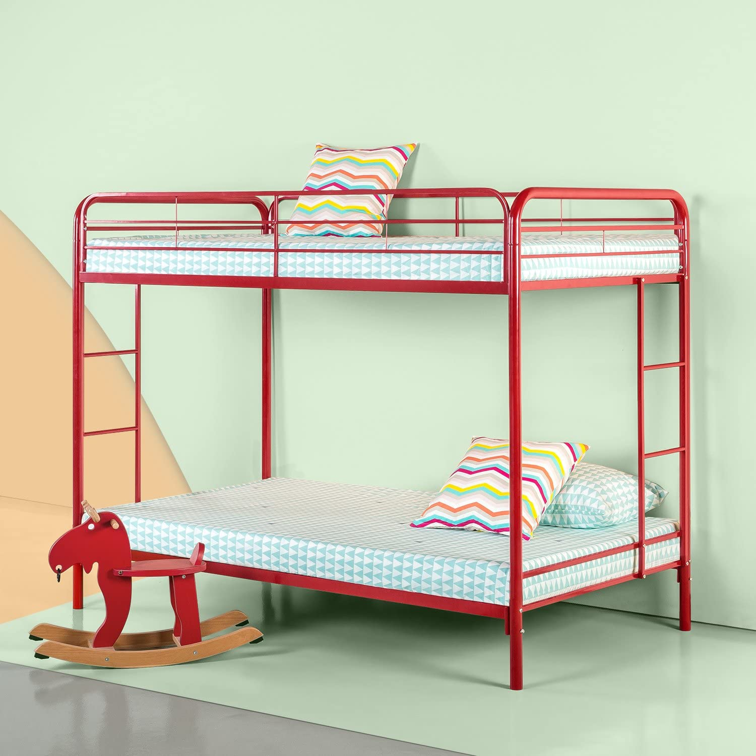 Zinus Easy Assembly Quick Lock Metal Bunk Bed with Dual Ladders, Twin Over Twin, Red