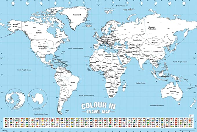 Cartina Del Mondo Con Nomi.Poster Da Colorare Planisfero Colour In Travel Map 91 5cm X 61cm Amazon It Casa E Cucina