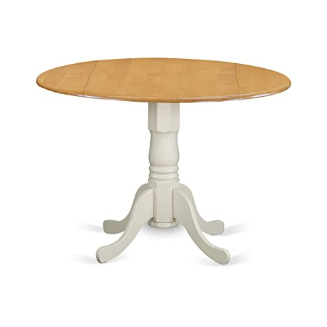 """img buy East West Furniture DLT-OLW-TP Dublin Round Table with Two 9"""" Drop Leaves in Oak and Linen White Finish, Oak & Linen"""