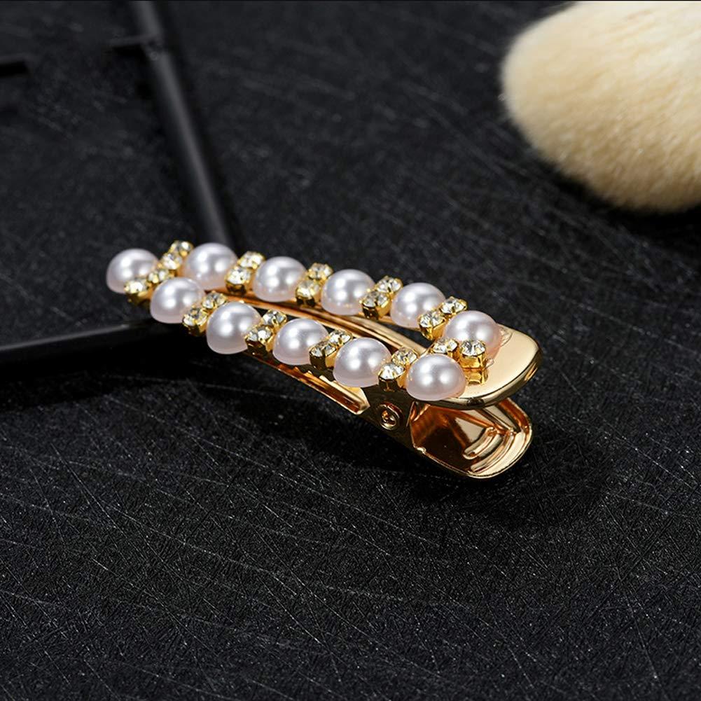 4pcs Mode Perle Artificielle Barrettes Coeur Place de la Perle Hair Pins Pins Bobby Cheveux Barrettes d/écoratif Bridal Snap Clips pour Femmes Lady Filles