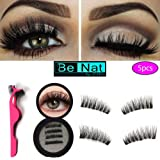 BE-NAT by Ellie-New 2018-TRIPLE Magnetic false Eyelashes Reusable–3D LONG SIZE-No Glue-0.2MM Ultra Thin for Ultra Soft Natural Look-New design easy to apply in Seconds–KIT with Applicator 5 pieces