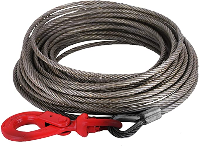 """3//8/"""" X 40/' Steel Core Wrecker,Rollback. Wire Rope With Swivel Hook"""