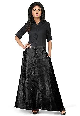 f5ea230b1c62 Utsav Fashion Plain Dupion Silk Long Skirt in Black: Amazon.in: Clothing &  Accessories