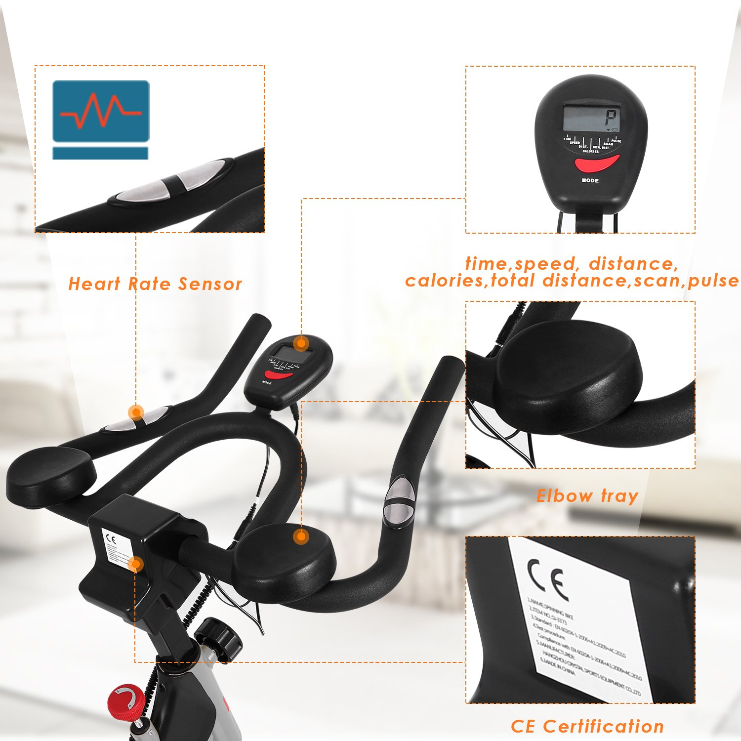 ANCHEER Stationary Bike, 40 LBS Flywheel Belt Drive Indoor Cycling Exercise Bike with Pulse, Elbow Tray (Model: ANCHEER-A5001) (Sliver) by ANCHEER (Image #4)