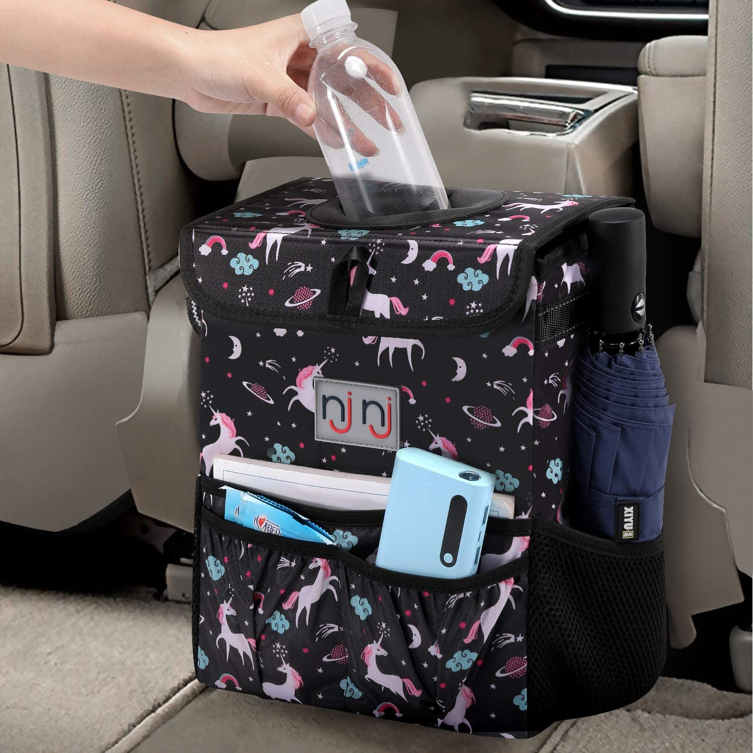 Stash Away Car Trash Can With Lid Storage Pockets Vehicle Neat Organiser Pouch