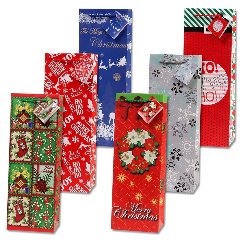 12 Christmas Wine Gift Bags with Handle and Tags for Holiday Wine Bottle Bag Decorations for Home Table Party