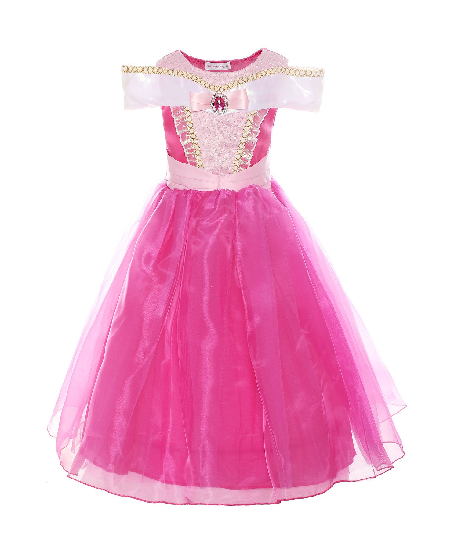 ReliBeauty Girls Drop Shoulder Princess Aurora Costume Dress up, Hot Pink, 7-8