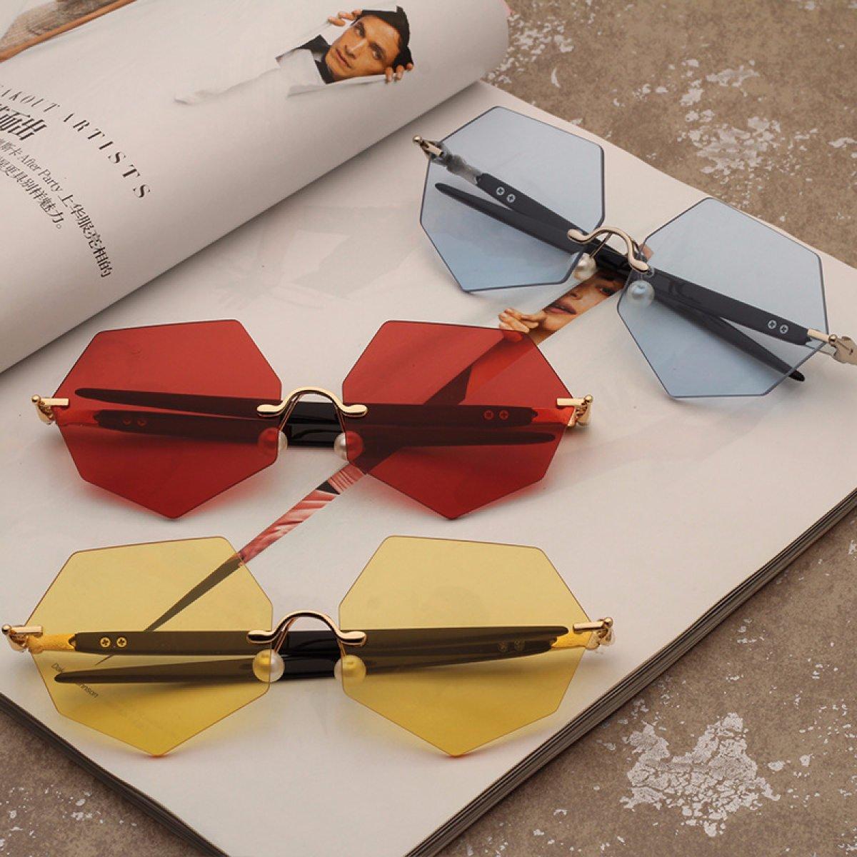 LQABW Neue Rahmenlose Sonnenbrille Trendy Stilvolle Polarisierte Keine Blendung UV-resistente übergroße Sonnenbrille,I