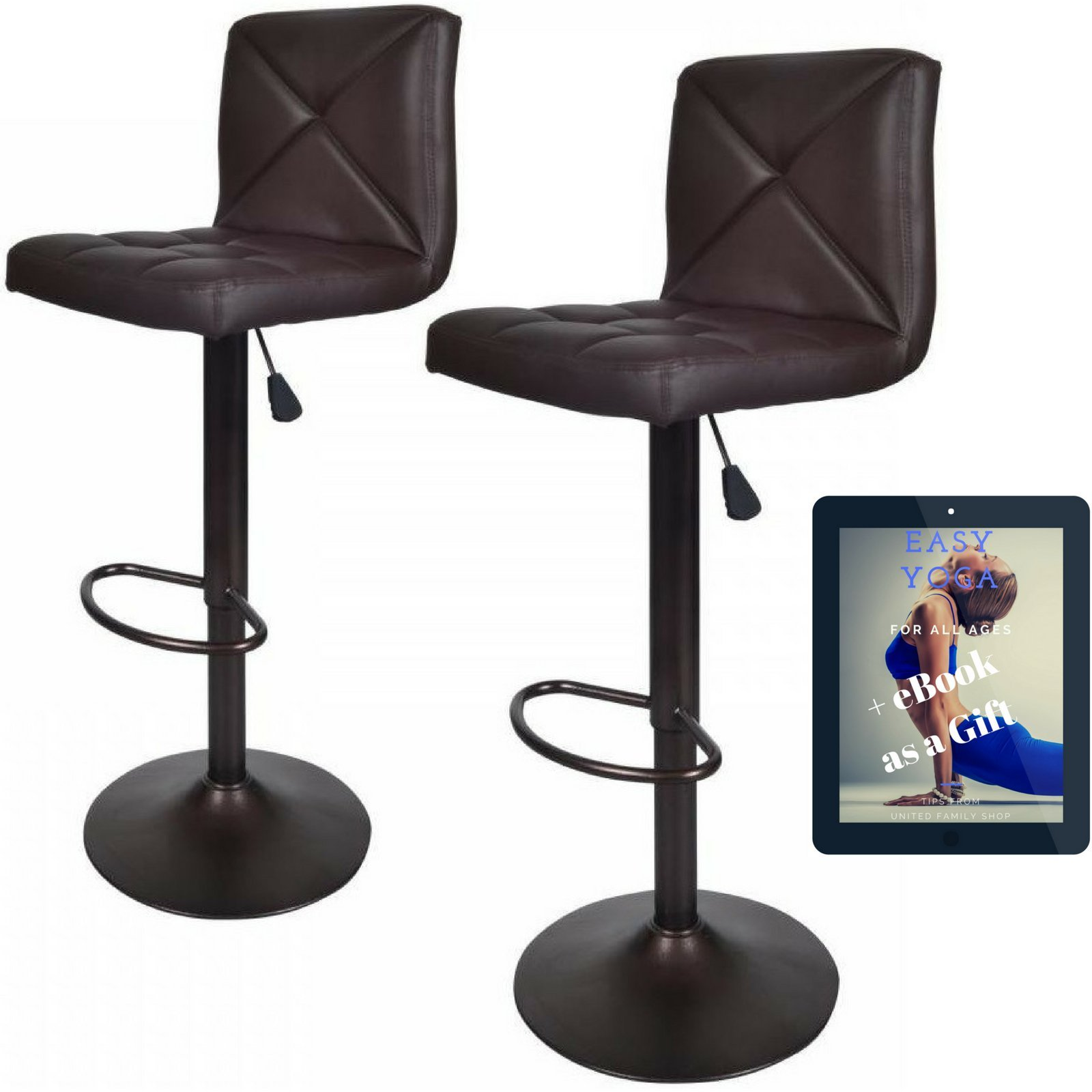 Vintage Bar Stools With Back Set of 2 Brown PU Leather 24 Inch to 32 Inch | Modern 360 Degree Adunited justable Swivel Seat Barstools Hydraulic Chair 2 Pcs | Free Gift Yoga eBook by United Family Shop