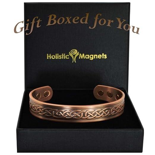 Pulsera magnética de cobre para alivio del dolor, pulseras magnéticas para la artritis, pulsera de curación, pulsera celta, unisex, en caja de regalo, ...