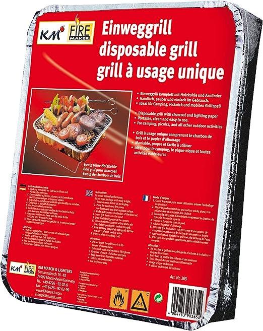 KM Firemaker - Barbacoa desechable con 450 g de carbón Vegetal y Papel de Encendido, para pícnics, barbacoas de Picnic 365.: Amazon.es: Jardín