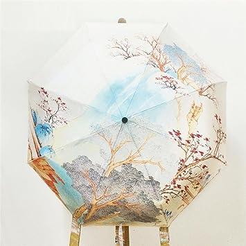26 cm Vintage pintados a mano paisaje sombrilla impresa paraguas de la manija de viaje plegable