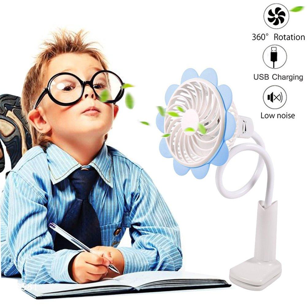 2018 USB Battery Operated Clip Fan Bendable Portable Rechargeable Mini Desk Fan USB Fan Sun Flower Fan 360 Degree Adjustable Wind Speed Personal Clip Desk Fan - More Speeds fan for Office Car Baby Str
