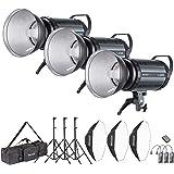 Neewer 1200W Estudio Flash Estroboscópico Fotografía Iluminación Kit:(3) 400W Monolight,(3) Reflector Difusor,(3) Softbox,(3) Soporte de Luz,(1) RT-16 Disparador,(1) Bolsa (S-400N)