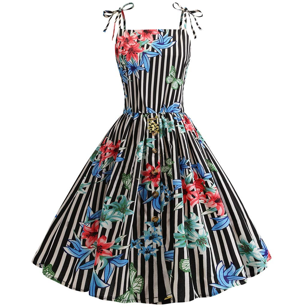 Women Strappy Swing Dress, Ladies Vintage Floral Striped Button Chiffon Skirt A-Line Party Dresses (Black, L)