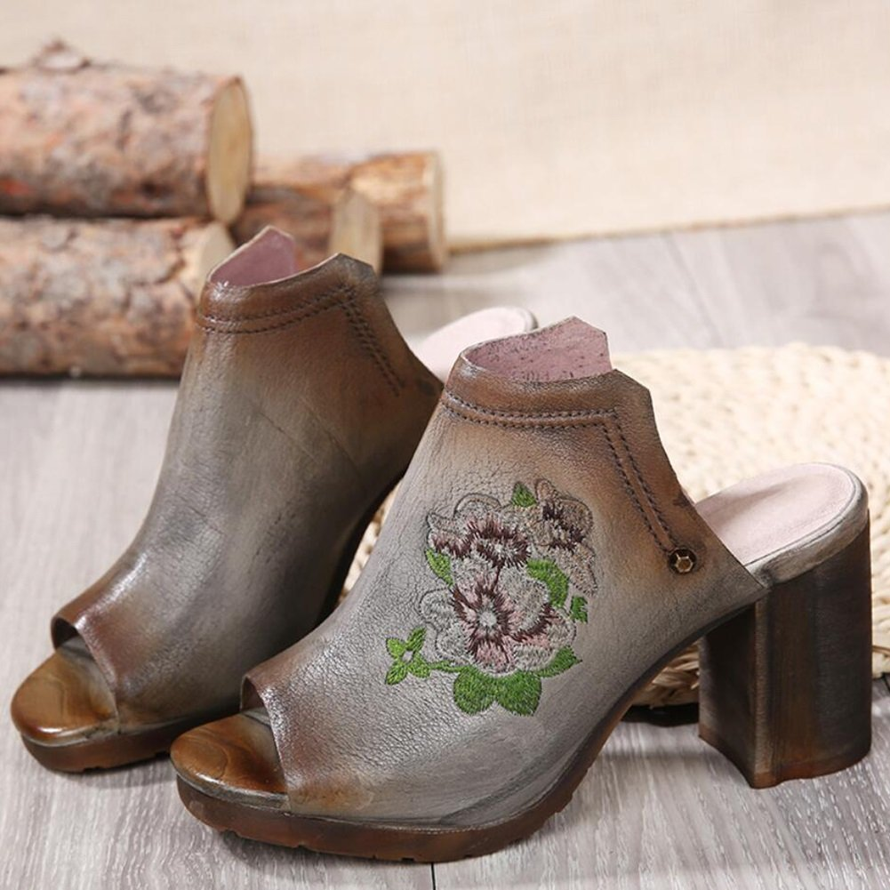 XUE Damenschuhe Leder Frühjahr/Sommer Fahr Schuhe National Style Sandalen/Hausschuhe & Flip-Flops Wanderschuhe Office Breathable Lightweight (Farbe : B, Größe : 40)