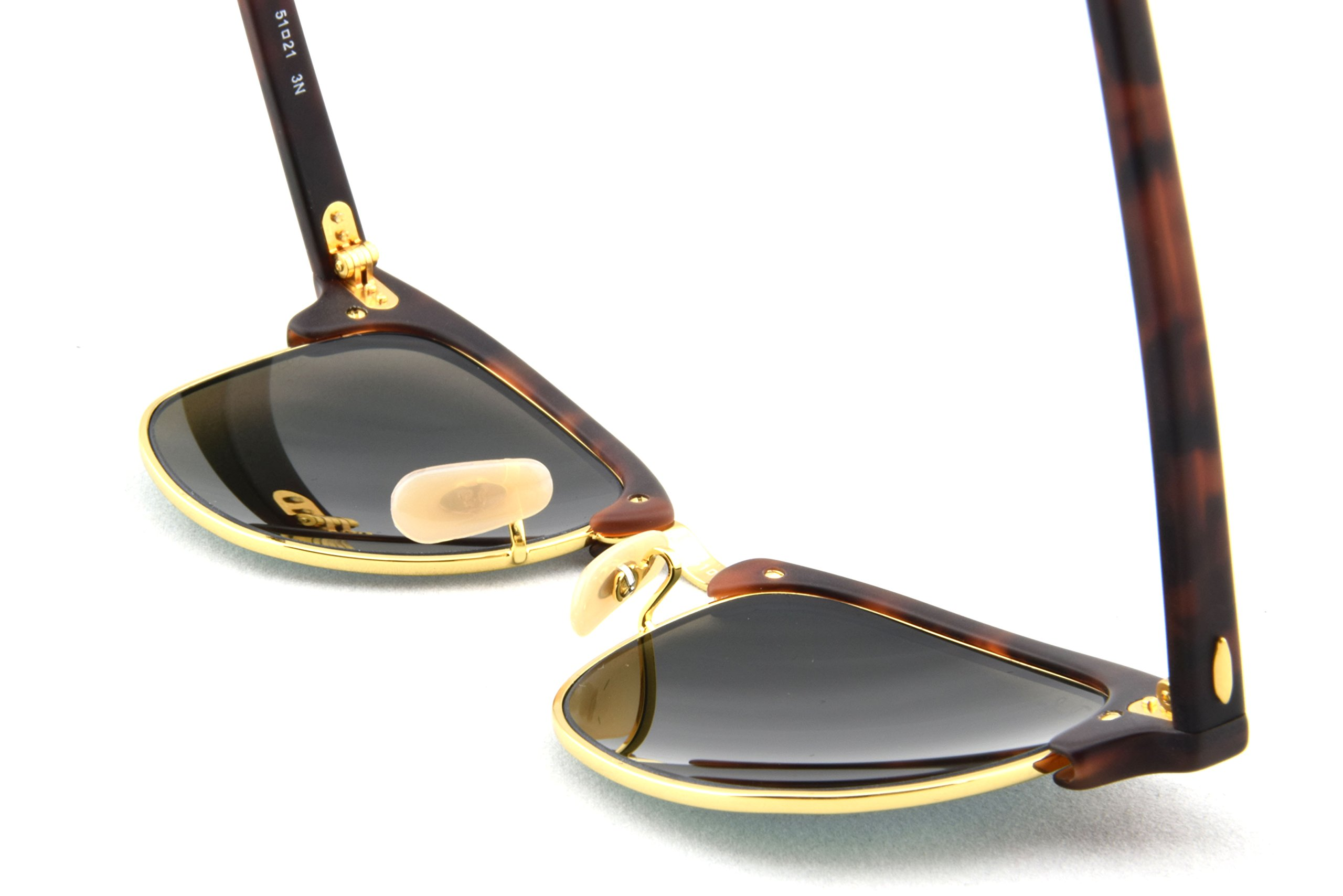 Ray-Ban CLUBMASTER - SAND HAVANA/GOLD Frame GREY MIRROR GREEN Lenses 51mm Non-Polarized by Ray-Ban (Image #4)