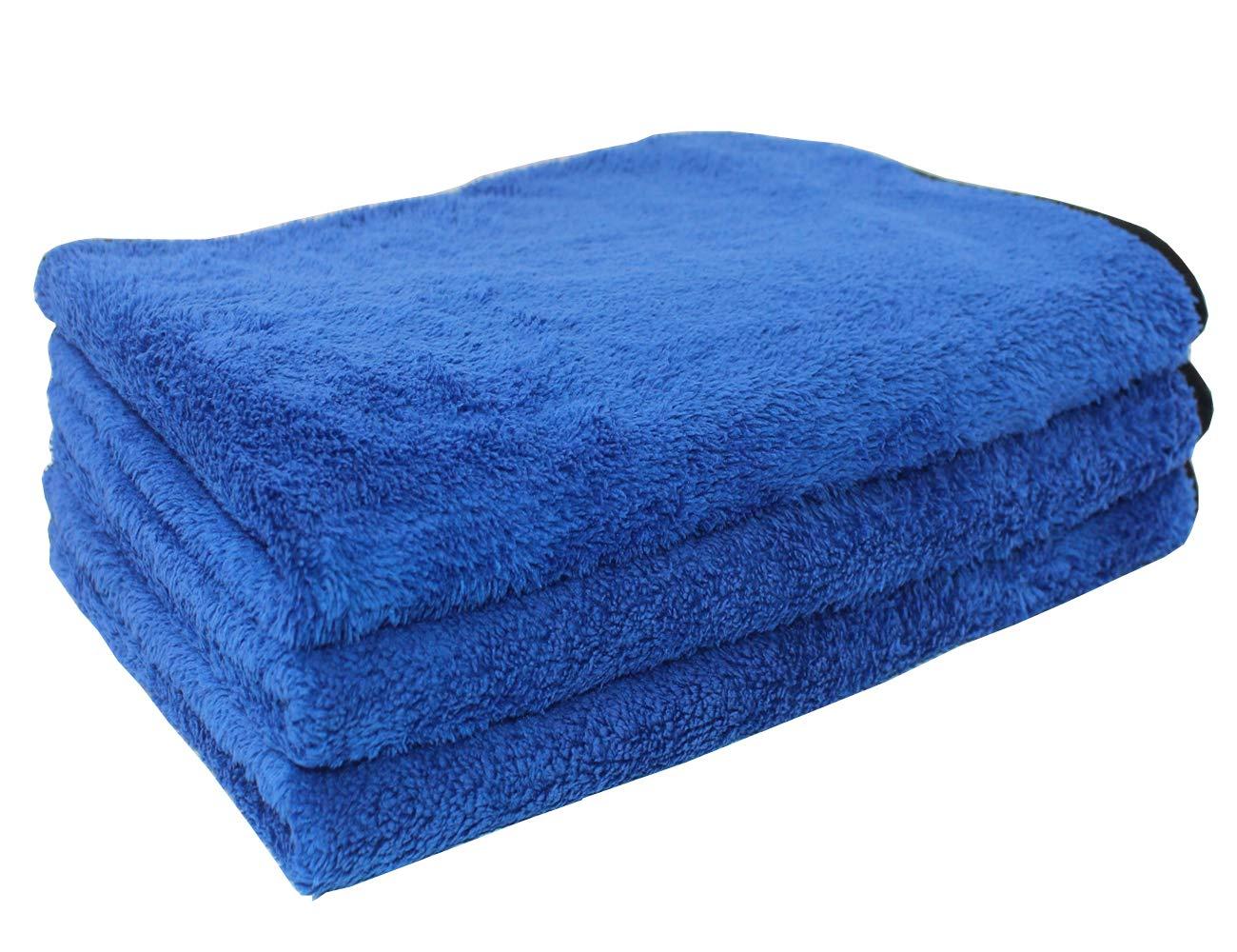 HIDMD Panni in Microfibra Asciugamani per Asciugatura Auto Panno Microfibra per Pulizia Panno Asciugatura Panno per Lucidatura Set 3 Pezzi 40cm x 60cm Grigio