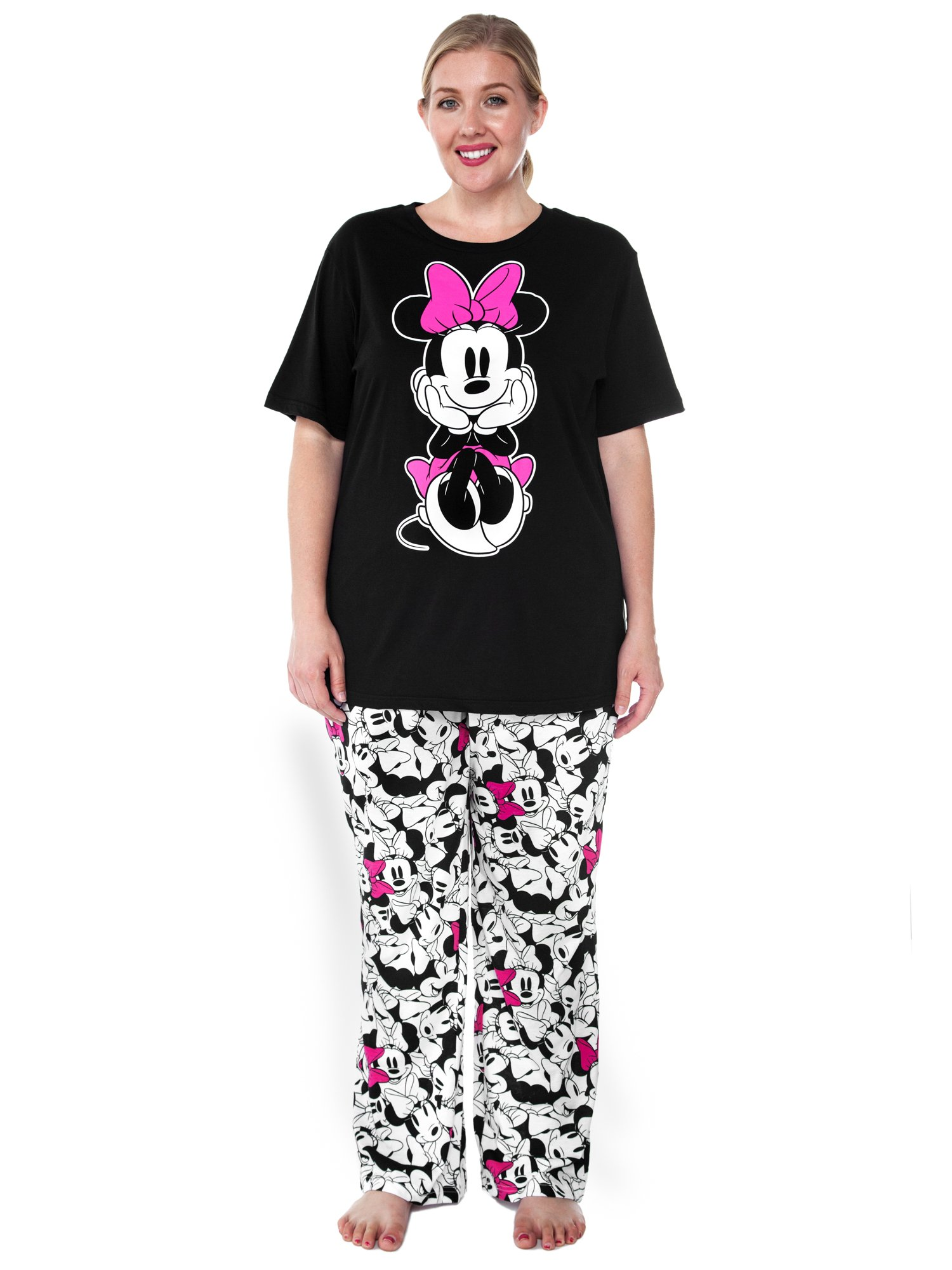 Disney Womens Plus Size Pajama Set Minnie Mouse T-Shirt & Pants PJs (Black, 2X)