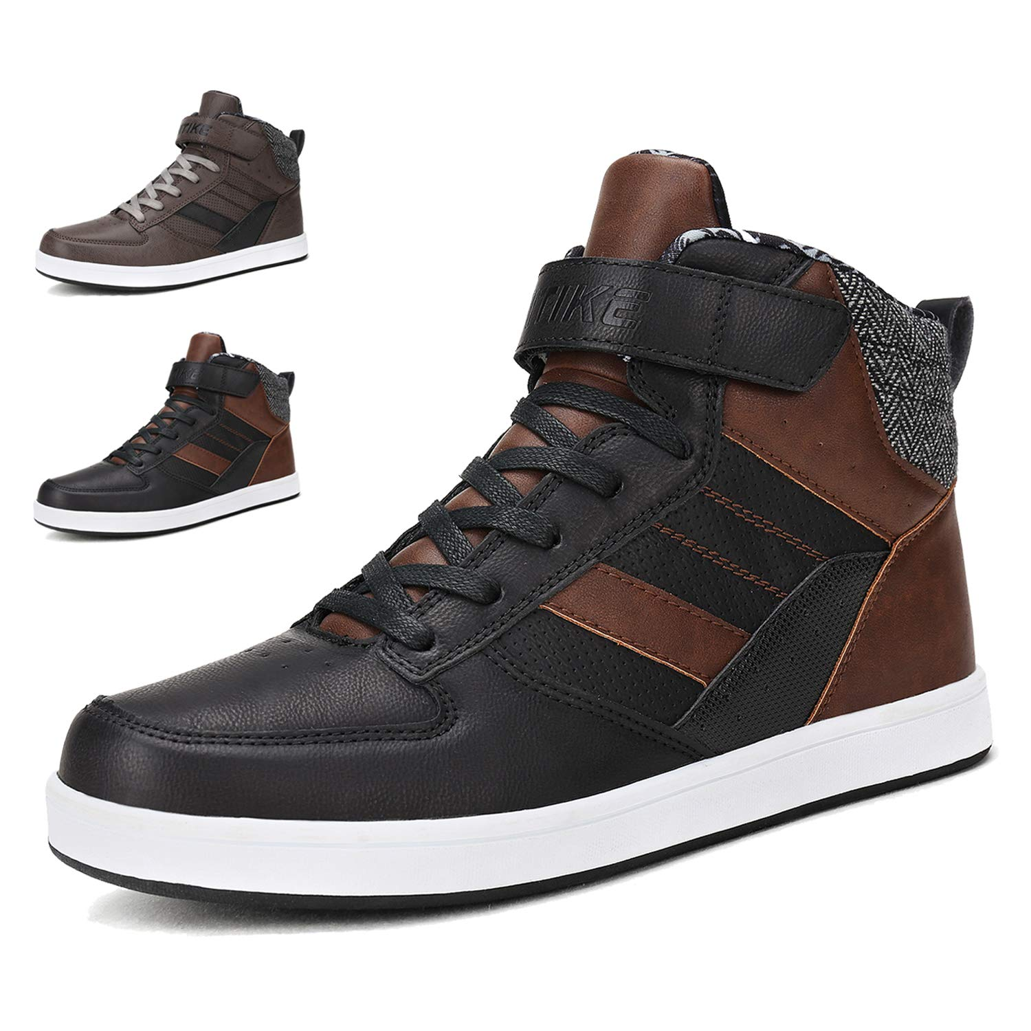 WETIKE Men's Sneakers Fashion High Top Shoes Classic Skateboarding Shoes Slip-on Casual Boots Leather Street Sport Shoes Outdoor Indoor