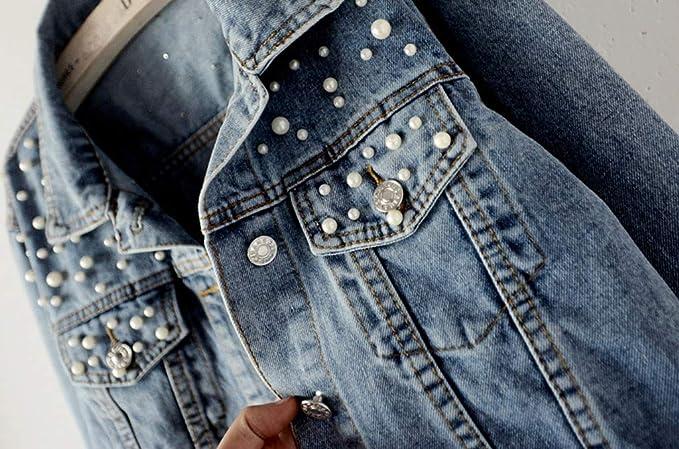 TEBAISE Jeansjacke Damen Perlen Pailletten Denim Jacken Übergangsjacke Button Down Leichte Freizeit Jacke Mäntel 2019 Herbst Winter Neu Frauen