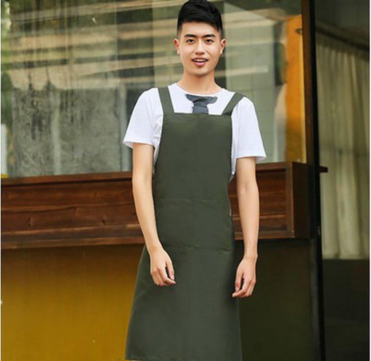 Geranjieファッションメンズandレディースウェイターレストランキッチン作業オーバーオールCooking Bakingコーヒーショップシンプル防水エプロンロゴカスタマイズ   B078W1V6G9