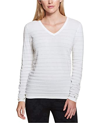 883f29b974 Tommy Hilfiger Women s V-Neck Striped Metallic Sweater at Amazon ...