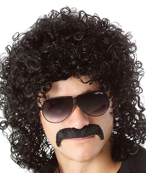 Peluca negra rizada para hombre, de estrella del rock, estilo años 70 y 80, para disfraz de Halloween, fiesta de disfraces