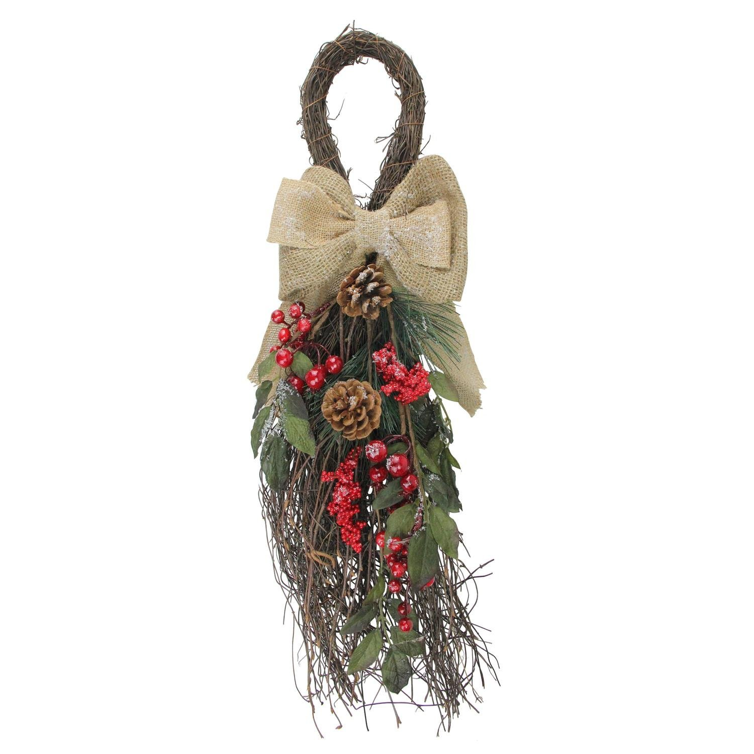 Northlight 24'' Country Rustic Snowy Pine Cones and Red Berries with Burlap Bow Christmas Teardrop Swag