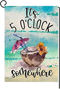 BLKWHT Summer Beach Garden Flag It's 5 O'Clock Somewhere Vertical Double Sided Tropical Fruit Coconut Burlap Yard Outdoor Decor 12.5 x 18 Inches A2152