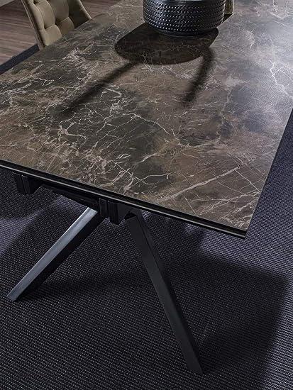 La Seggiola Tavolo Allungabile In Vetro Ceramica Parbat Piano Grafite Brown E Base Nera Art Tokio Ceramico Amazon It Casa E Cucina